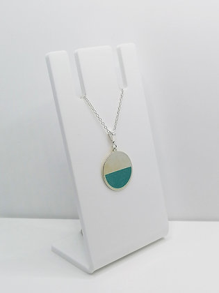 Sterling Silver Semi Circle Pendant - Turquoise