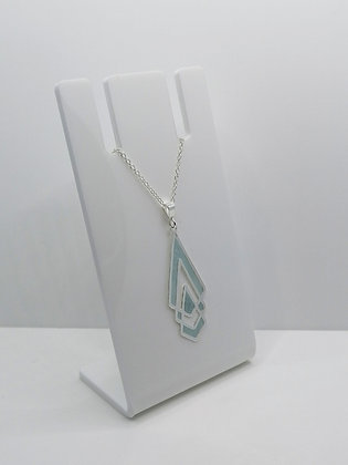 Sterling Silver Shaped Pendant - Pale Blue