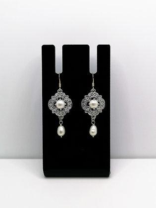 Sterling Silver Fancy Pearl Earrings