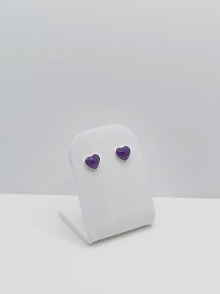Sterling Silver Small Heart Studs - Purple