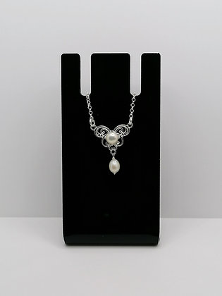 Sterling Silver Ornate Pearl Necklace
