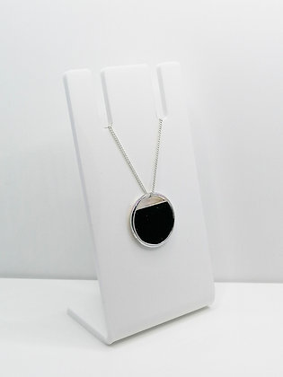 Sterling Silver Cutout Circle Pendant - Black