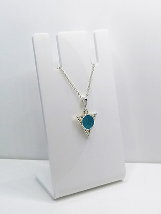 Sterling Silver Triangle Pendant - Teal Blue