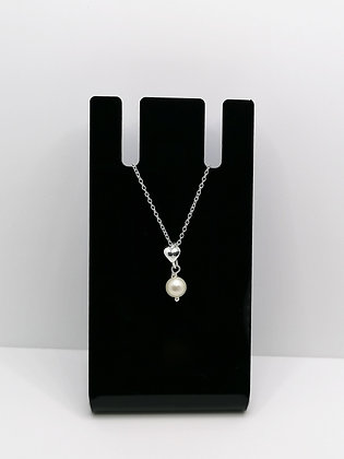 Sterling Silver Small Heart Pendant Pearl