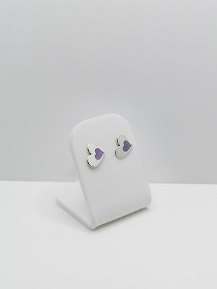 Sterling Silver Heart Studs - Lilac
