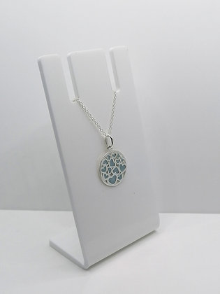 Sterling Silver Round Heart Pendant - Pale Blue