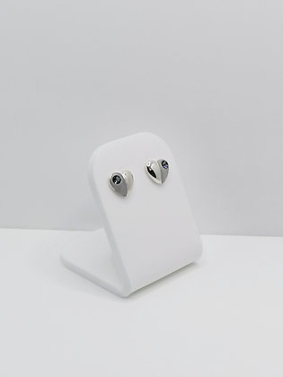 Sterling Silver Heart Studs -  Grey
