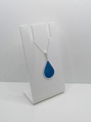 Sterling Silver Teardrop Pendant - Blue