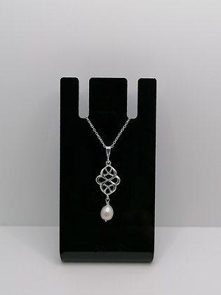 Sterling Silver Celtic Pendant Pearl