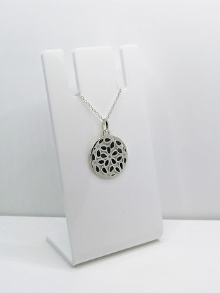 Sterling Silver Round Flower Pendant - Black