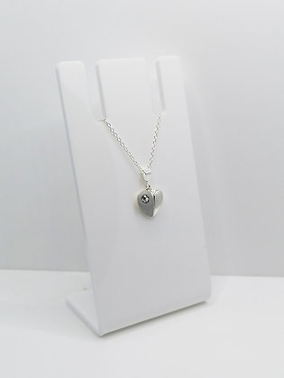 Sterling Silver Heart Pendant -  Crystal
