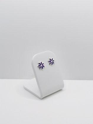 Sterling Silver Flower Studs - Purple