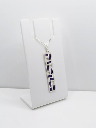 Sterling Silver Bar Pendant - Purple