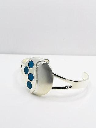Silver Plated Circle Resin Bangle - Blue