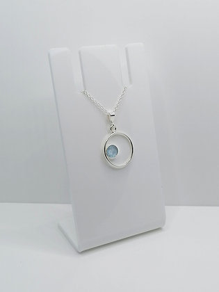 Sterling Silver Ring Pendant with Side Circle - Pale Blue