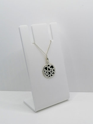 Sterling Silver Round Heart Pendant - Black