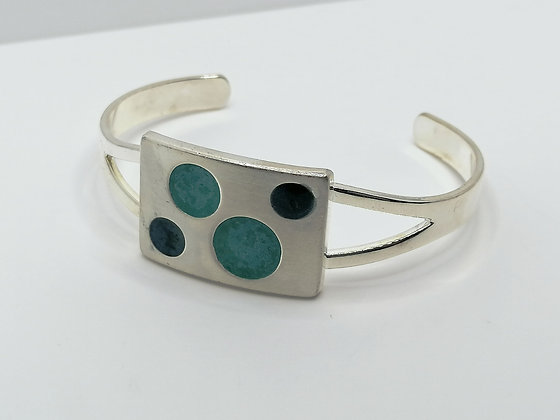 Silver Plated Square Resin Bangle - Turquoise
