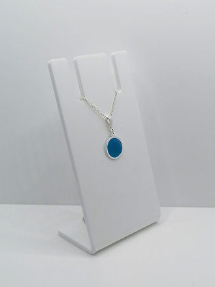 Sterling Silver Circle Pendant - Blue