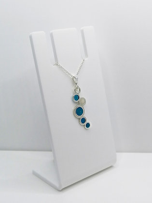Sterling Silver Circles Pendant - Blue