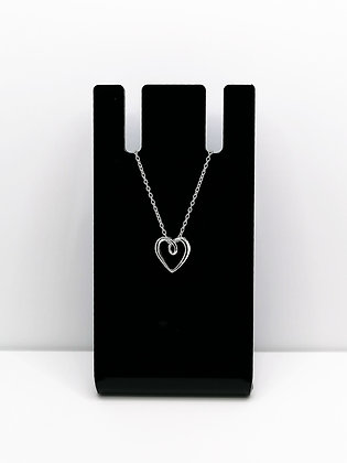 Sterling Silver Ribbon Heart Pendant