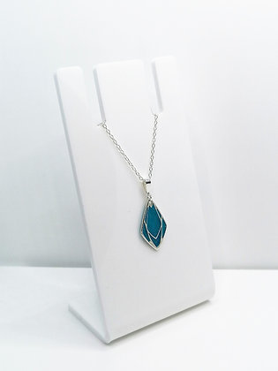 Sterling Silver Geometric Diamond Pendant - Blue