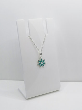 Sterling Silver Flower Pendant - Turquoise