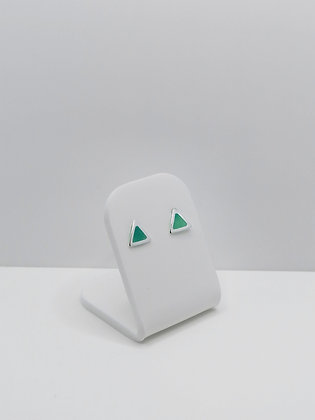 Sterling Silver Triangle Studs - Turquoise