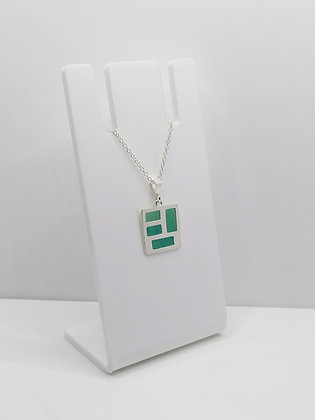Sterling Silver Square Pendant - Turquoise