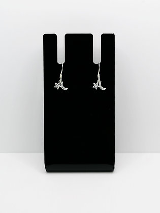 Sterling Silver CZ Star and Moon Earrings