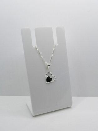 Sterling Silver Heart Pendant - Black