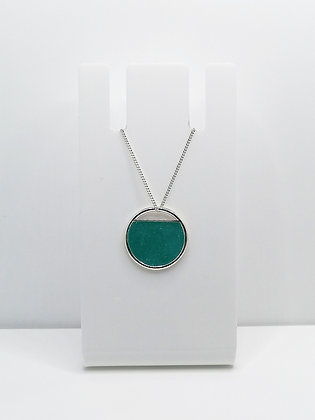 Sterling Silver Cutout Circle Pendant - Turquoise