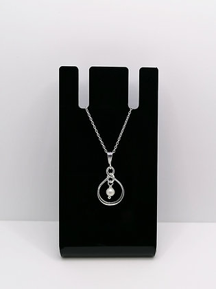 Sterling Silver Infinity Pendant Pearl