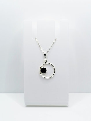 Sterling Silver Ring Pendant with Circle - Black