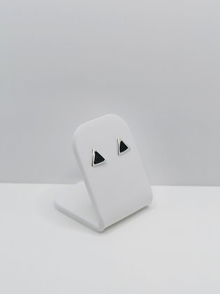 Sterling Silver Triangle Studs - Black