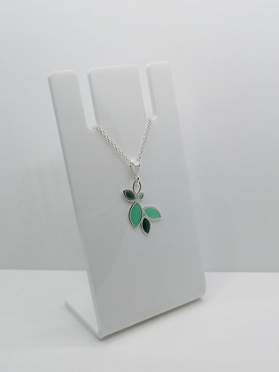 Sterling Silver Multi Leaf Pendant - Turquoise