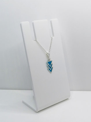 Sterling Silver Triangles Pendant - Transparent Blue