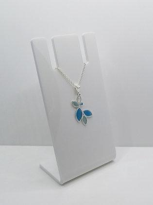 Sterling Silver Multi Leaf Pendant - Blue