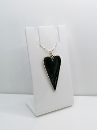 Sterling Silver Large Black Heart Pendant