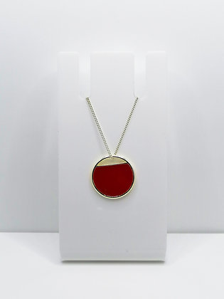 Sterling Silver Cutout Circle Pendant - Red