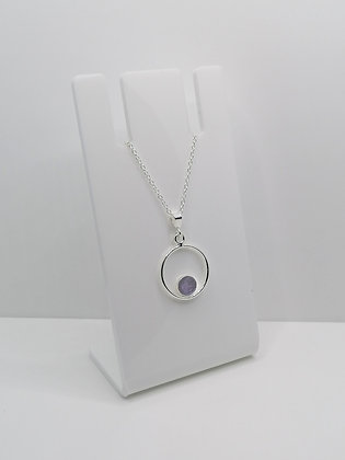 Sterling Silver Ring Pendant with Circle - Lilac