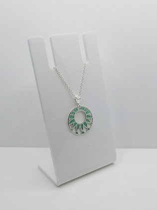 Sterling Silver Patterned Circle Pendant - Turquoise