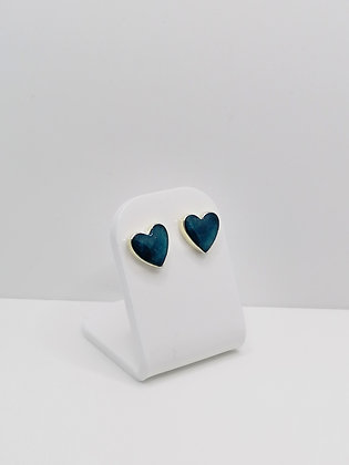 Sterling Silver Heart Studs -Teal Blue