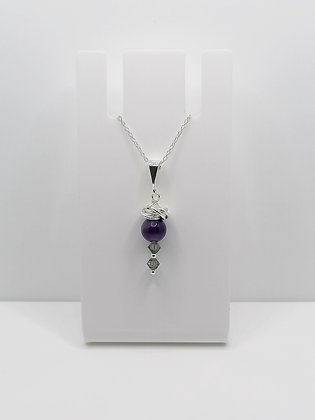 Sterling Silver Amethyst Thistle Pendant