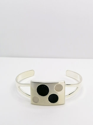 Silver Plated Square Resin Bangle - Black