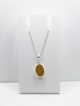 Sterling Silver Oval Pendant - Mustard Yellow