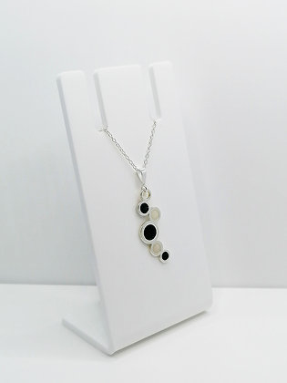 Sterling Silver Circles Pendant - Black and Pearl