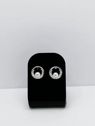 Sterling Silver Round Pearl CZ Studs