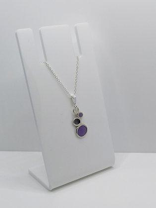 Sterling Silver Pebble Pendant - Purple