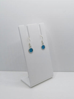 Sterling Silver Round Drop Earrings - Blue