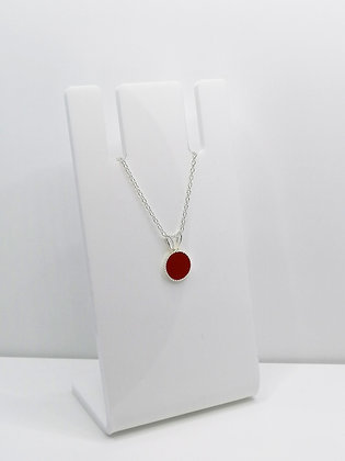 Sterling Silver Small Round Pendant - Red